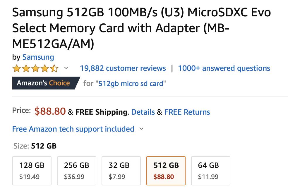 Samsung 512GB microSD card drops to $90 ($110 off) on Amazon