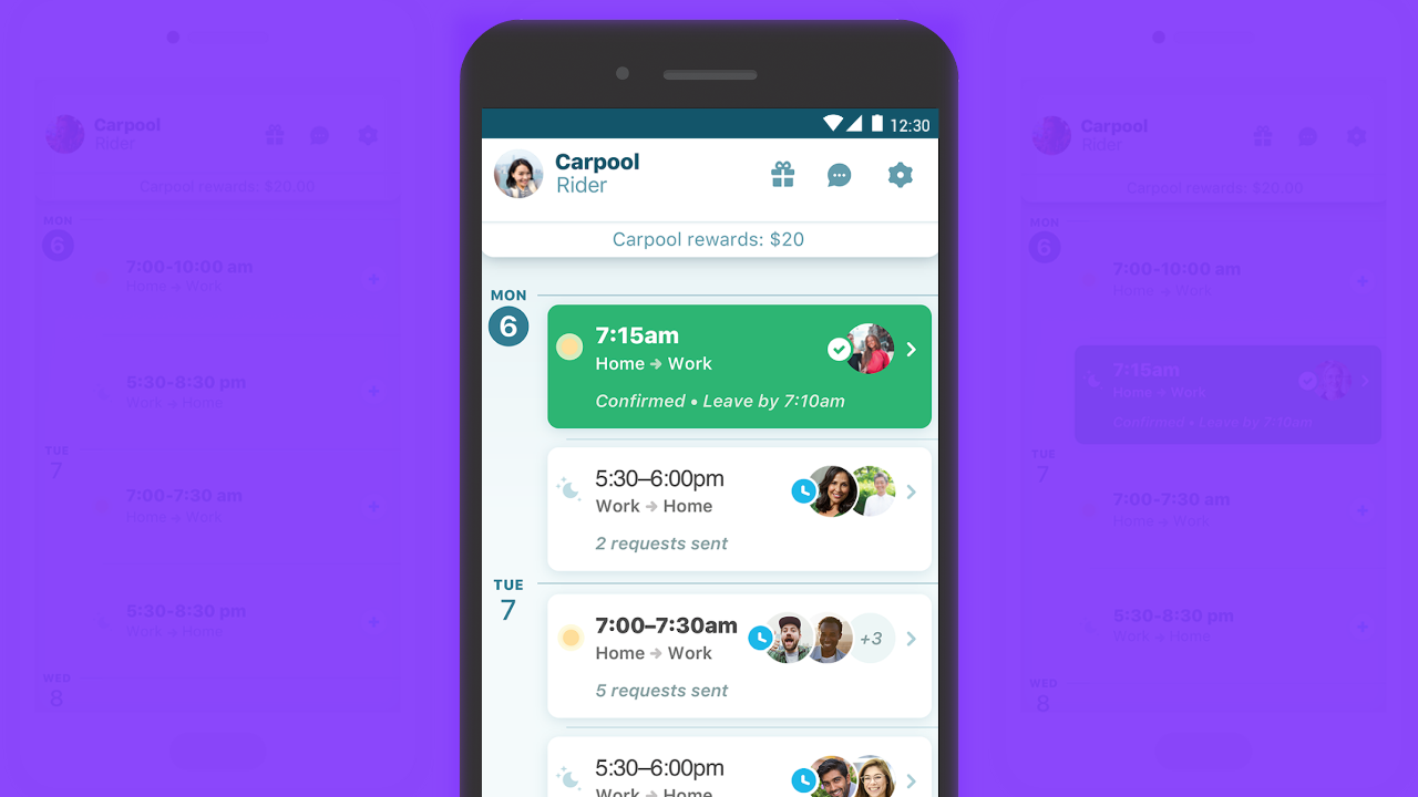 Waze Carpool updated with refreshed timeline design
