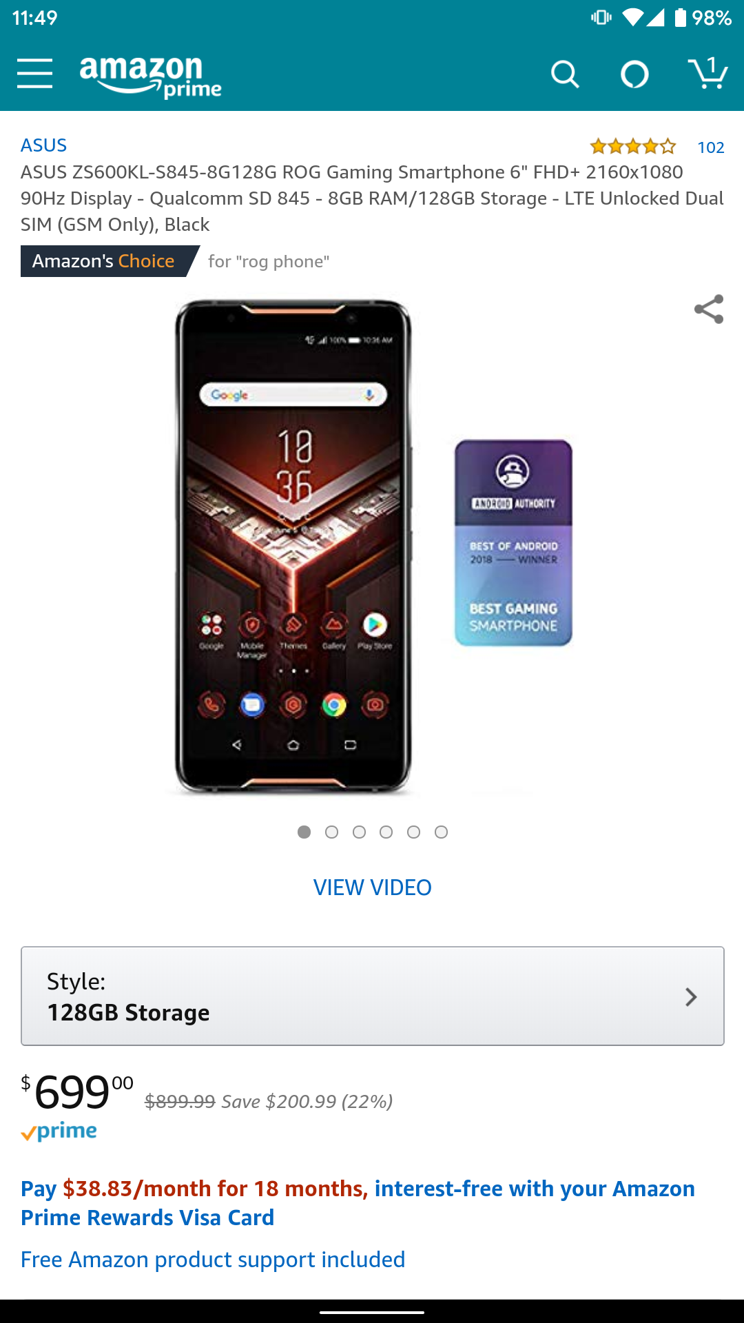 512GB ASUS ROG Phone on sale for $869 ($231 off) at Amazon