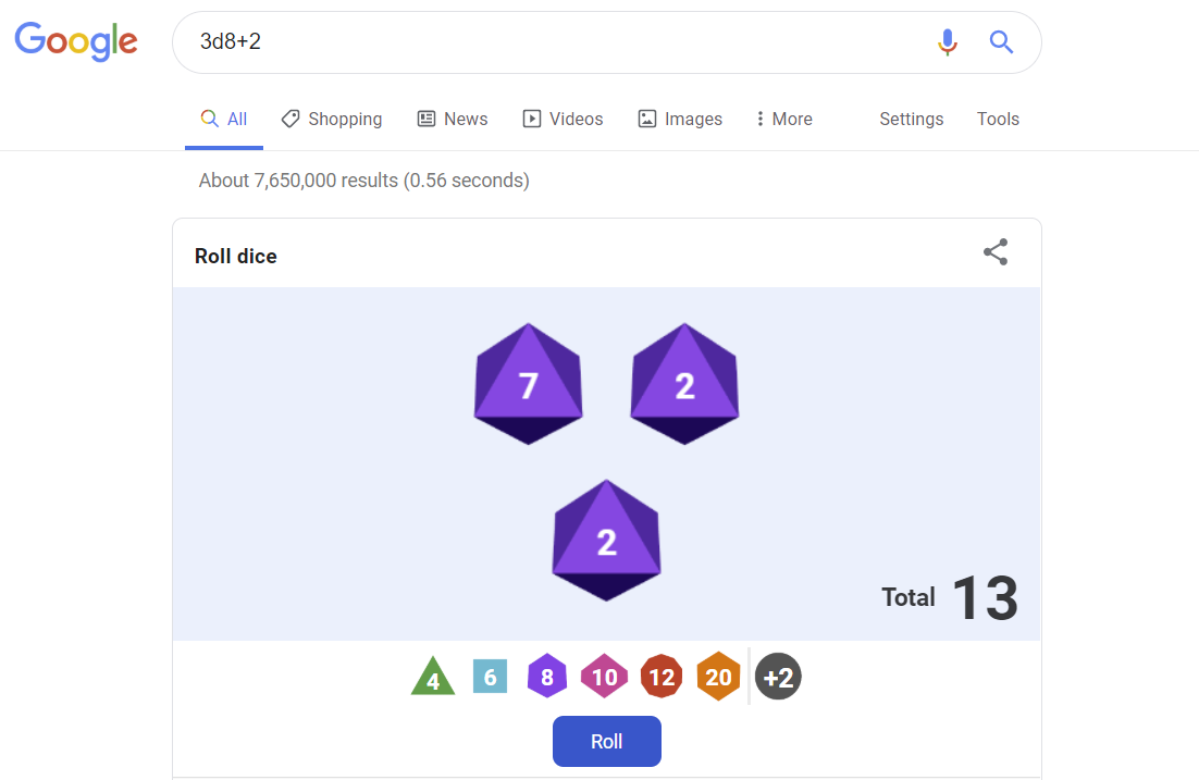 Roll for initiative: Google Search simulates more types of dice for your tabletop RPG enjoyment