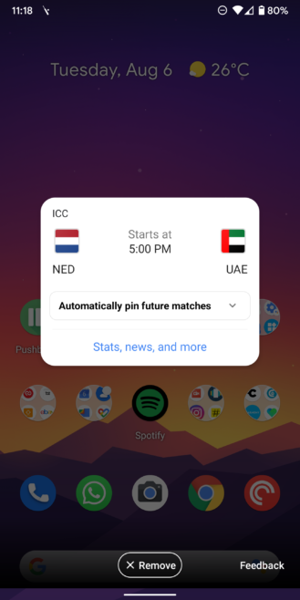 Google automatically pins live scores for your favorite team's