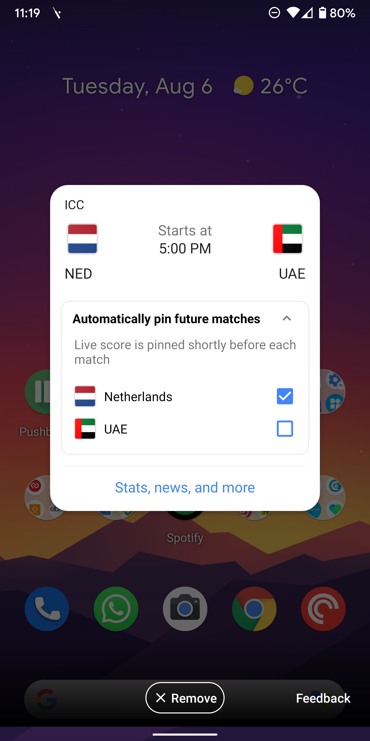 Google automatically pins live scores for your favorite