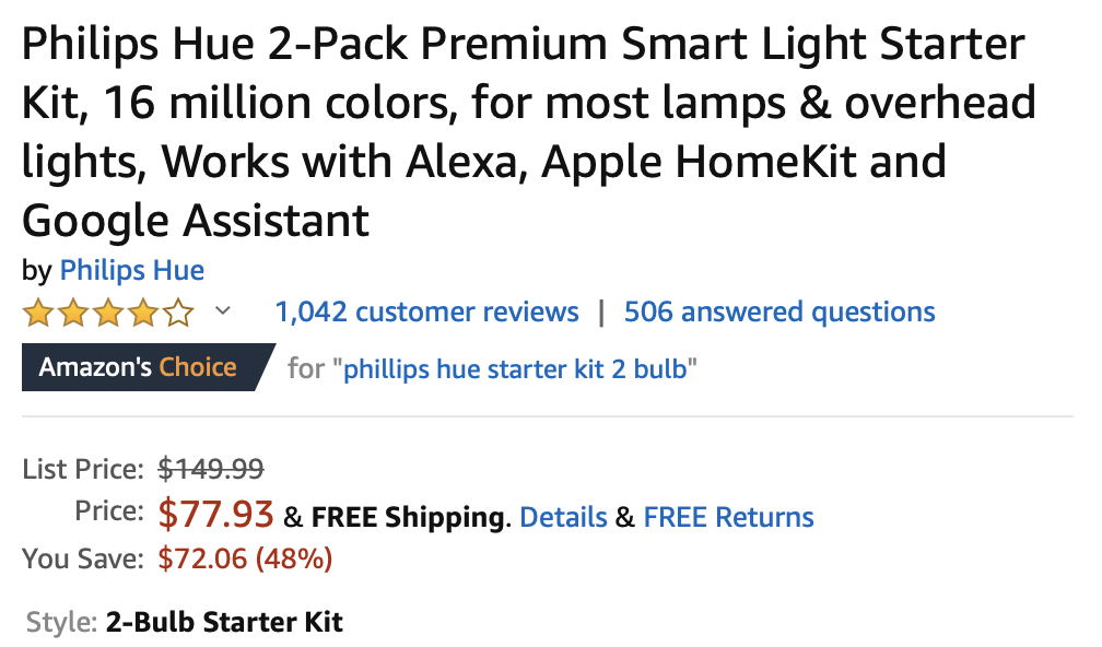 Update: Dead] The Philips Hue 2-bulb color starter kit is