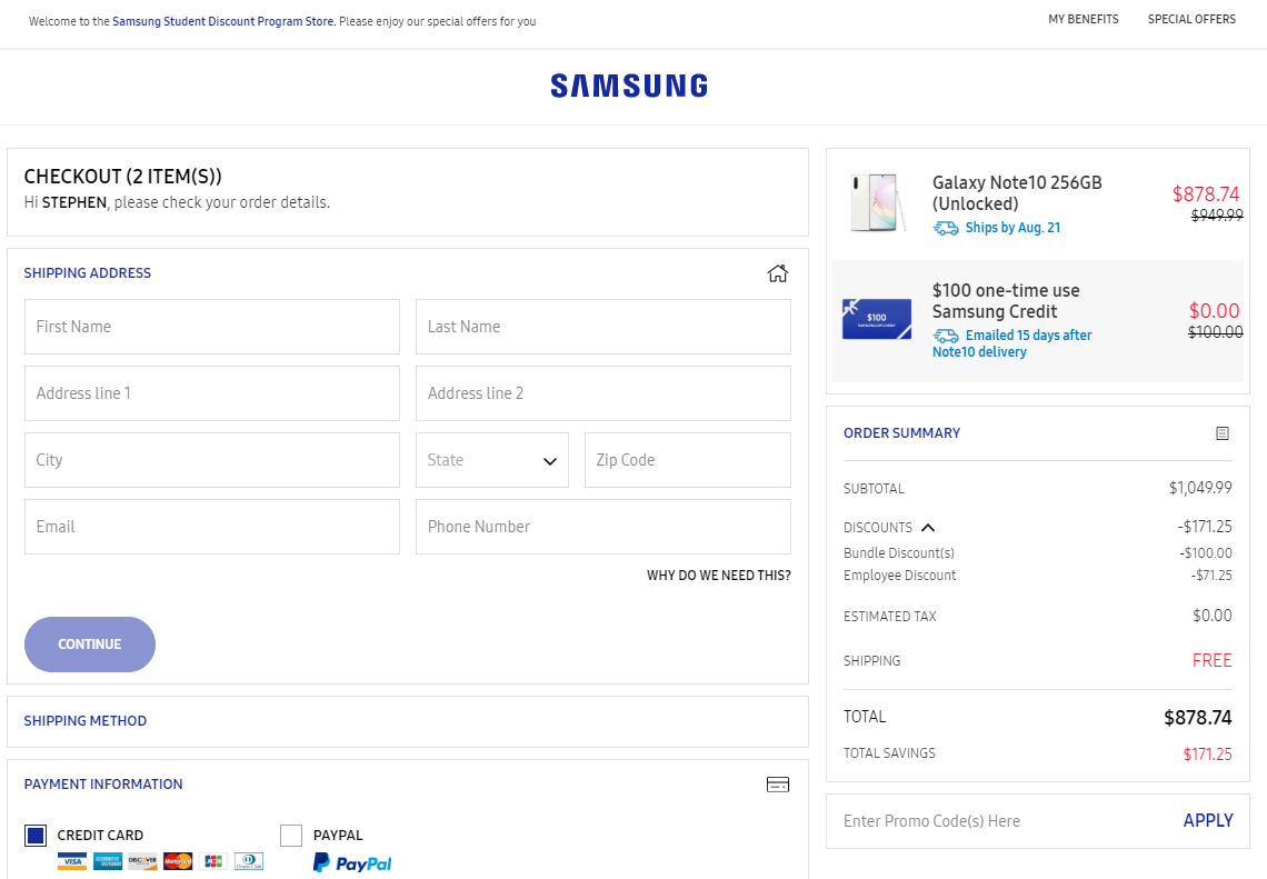 Samsung student discount