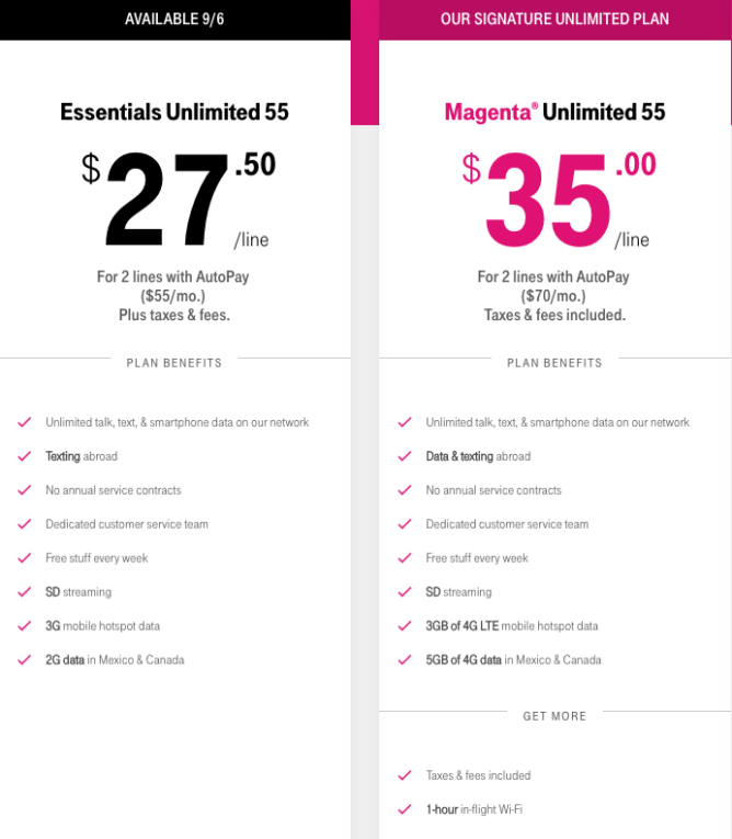 T-Mobile Essentials Unlimited 55 is $55 (plus taxes and fees