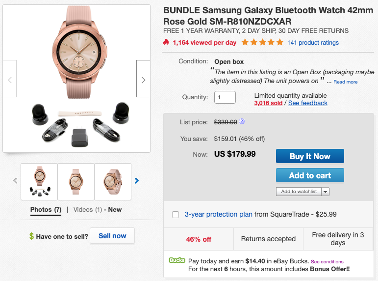 Open-box Galaxy Watch available in 42mm flavor for $180