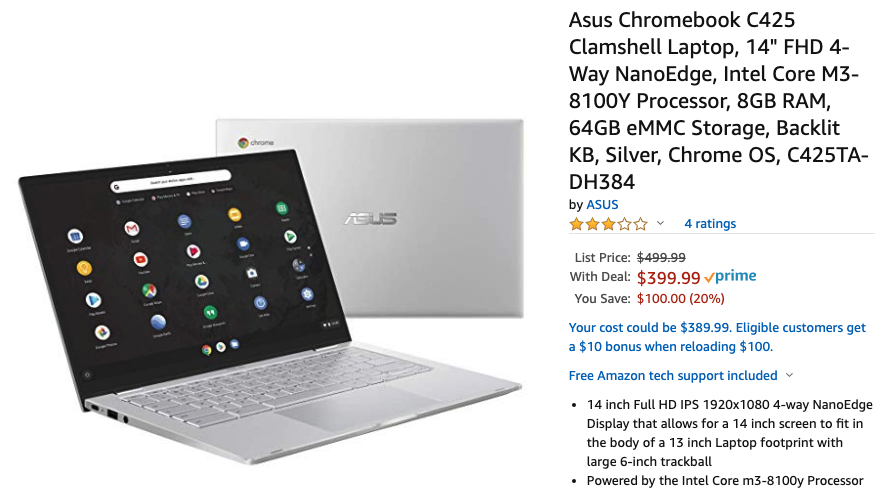 The brand-new ASUS Chromebook C425 is already $400 ($100 off