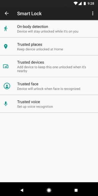 Trusted Face smart unlock method has been removed from