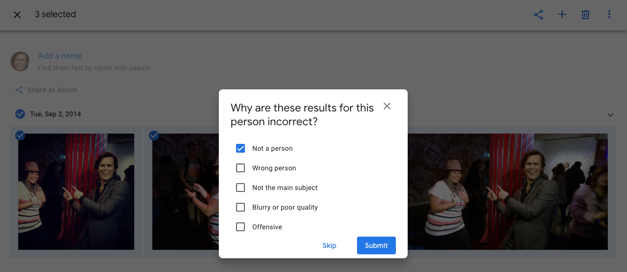 You can now tell Google Photos why a pic doesn't belong to a