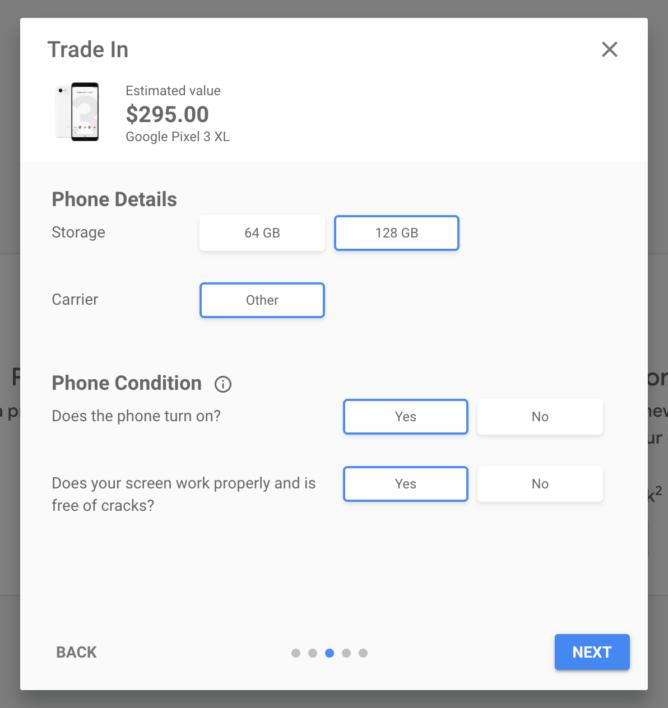 Screenshot showing trade-in value for the 128GB Pixel 3 XL through the Google Store: $295.