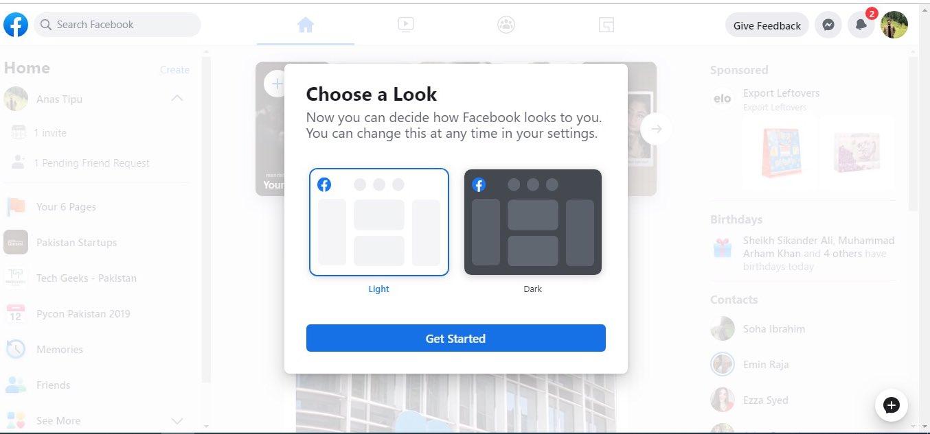 部分用户率先用上了全新设计的网页版 Facebook 4