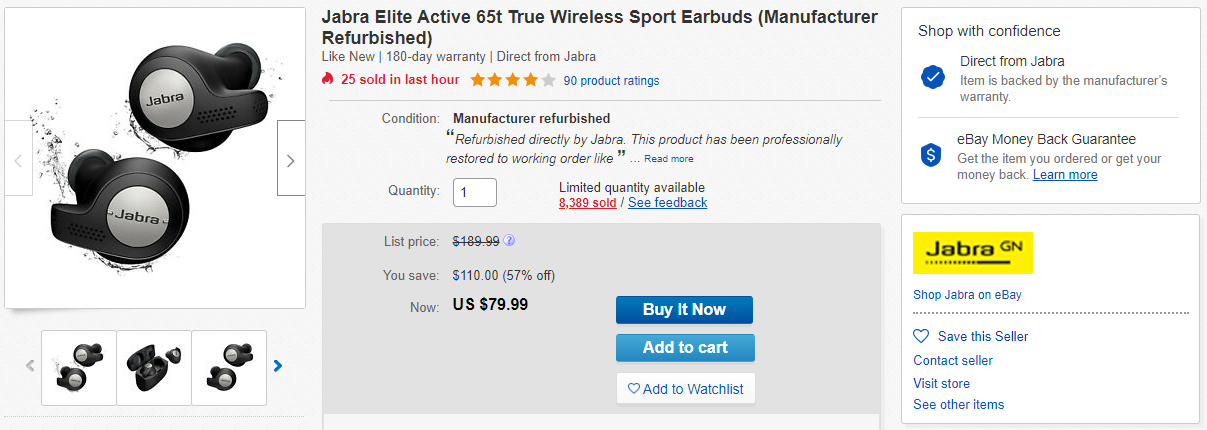 Refurbished Jabra Elite Active 65t Wireless Earbuds At Their Best Price Of 80 110 Off Right Now
