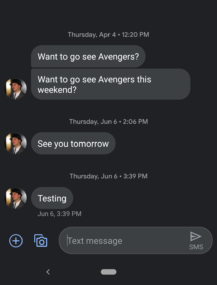 , [Update: APK Download] Google Messages v5.0 syncs dark mode with the Android 10 system theme, restores emoji shortcut, Next TGP
