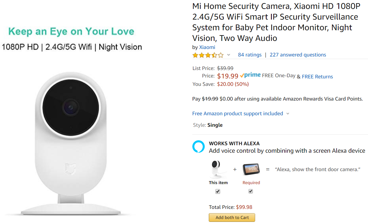 Home Security Ratings >> Get Xiaomi S 1080p Mi Home Wi Fi Security Camera For Just
