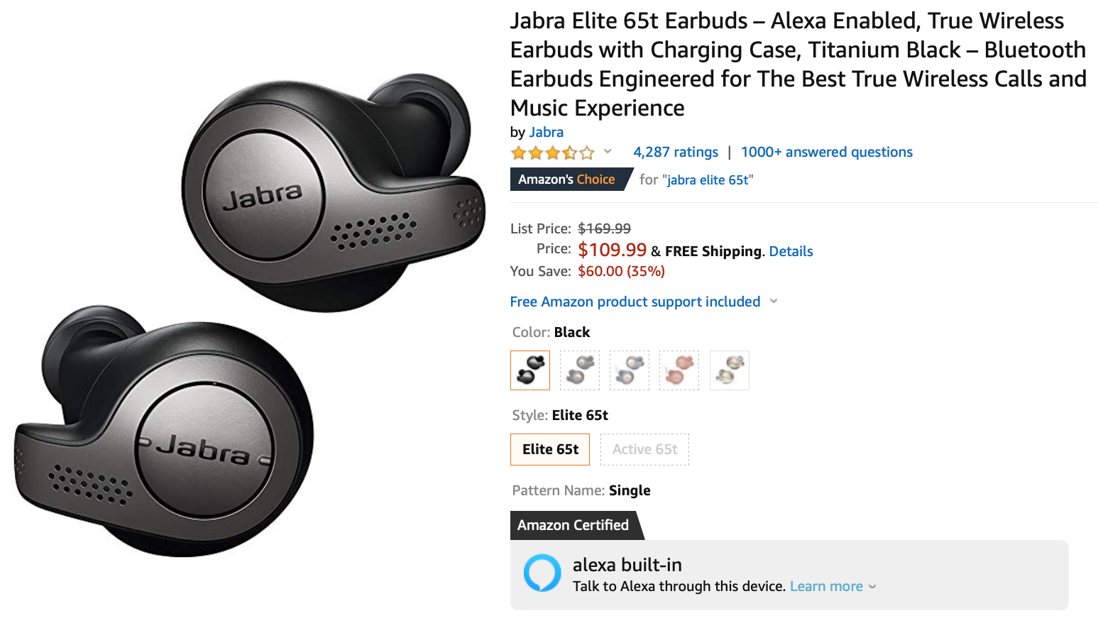 Save Up To 35 On Jabra Elite 65t 110 And Elite Active 65t 140 Wireless Earbuds
