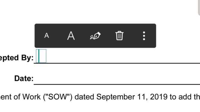 Inserting a signature in a PDF file