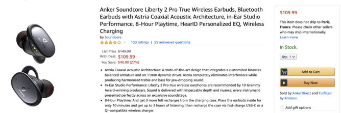 Grab the Anker Soundcore Liberty 2 Pro true wireless buds for $110 ($40 off)