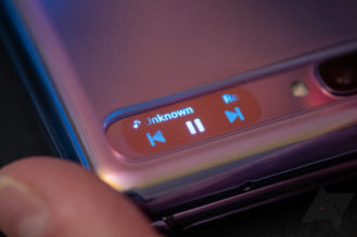Media controls on the Galaxy Z Flip's Cover Screen.