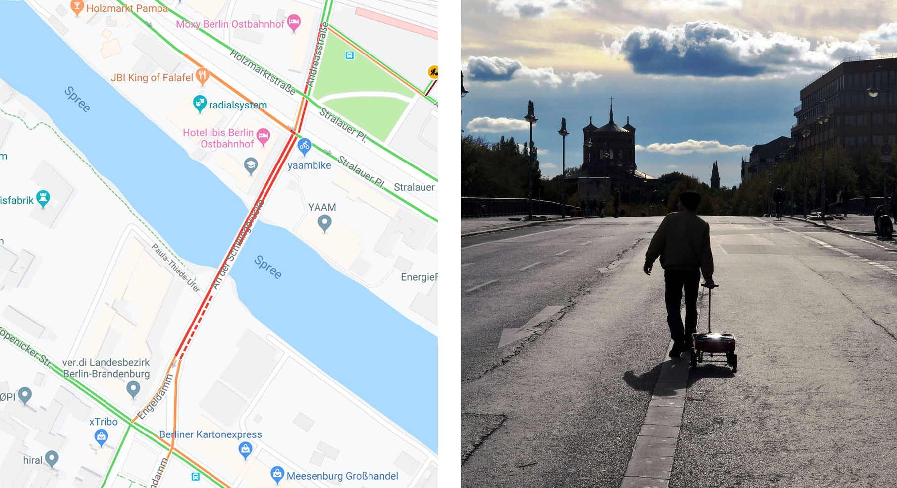 Artist lugs around wagon full of phones to create virtual traffic jams in Google Maps