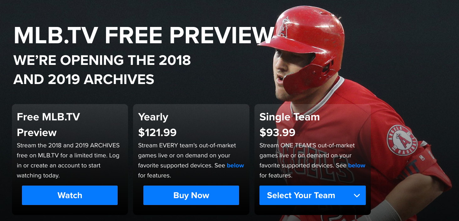 watch out of market mlb games free