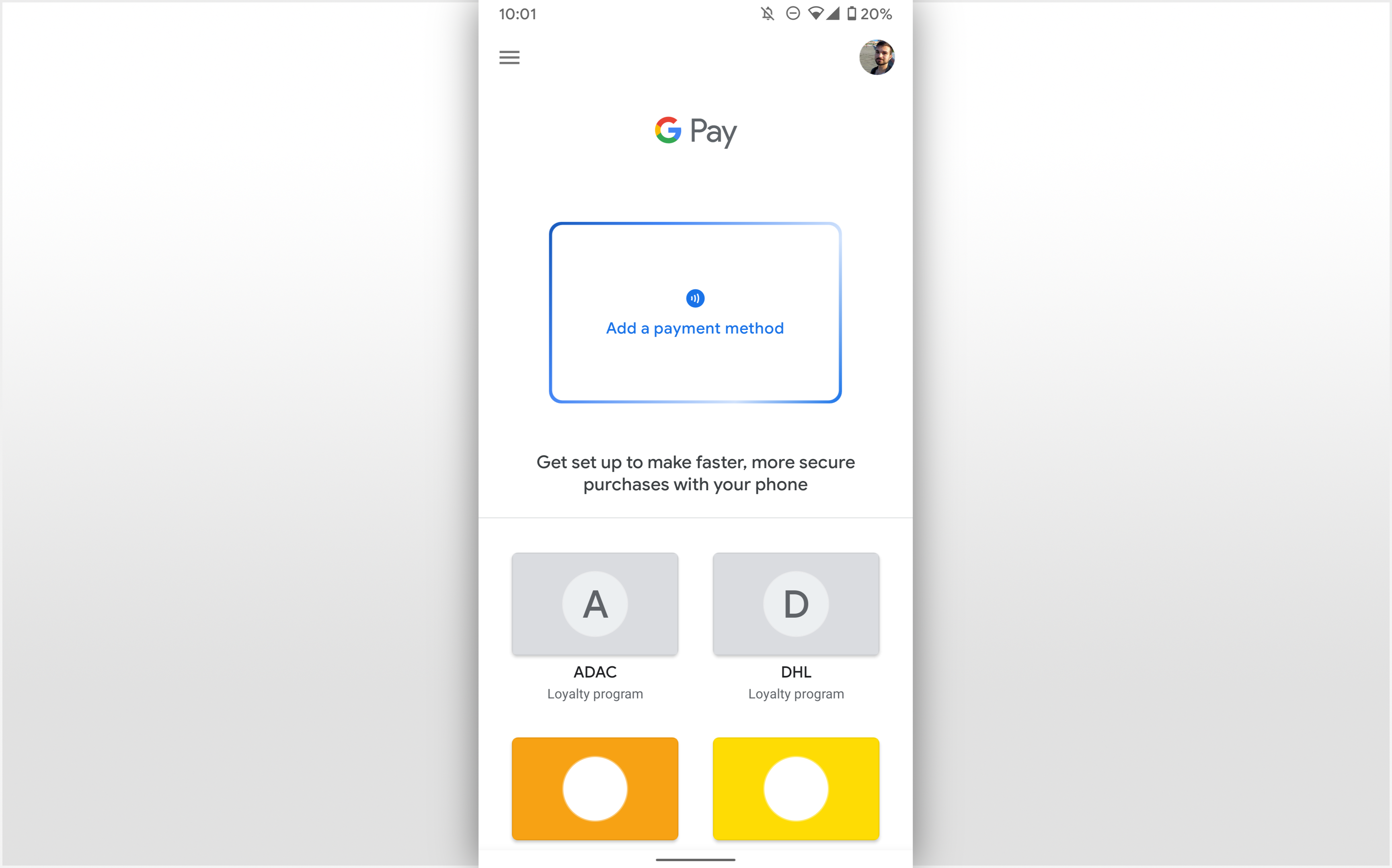Google Pay has an alternative, cleaner interface accessible from your Pixel's power menu