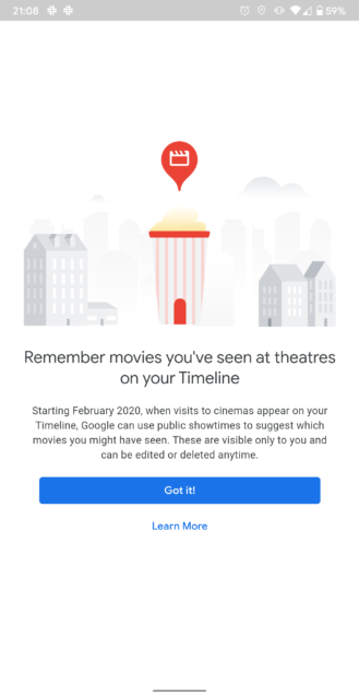 يمكن أن تعرض لك خرائط Google الآن الأفلام التي شاهدتها في المسارح ، كما لو كنت بحاجة إلى تذكير الآن 2