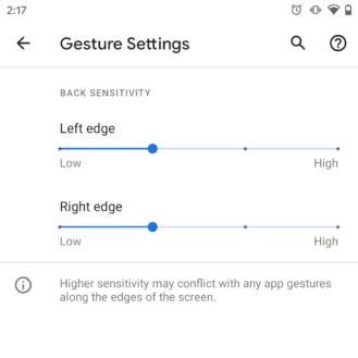 يضيف Android 11 DP3 خيارات حساسية جديدة للتنقل بالإيماءات 2
