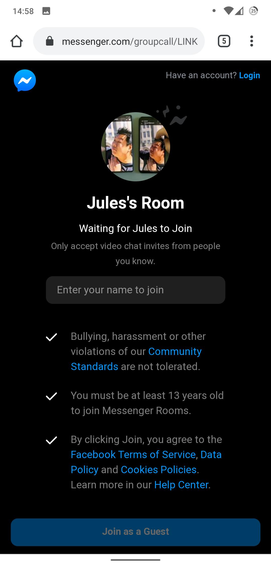 Facebook login room What is