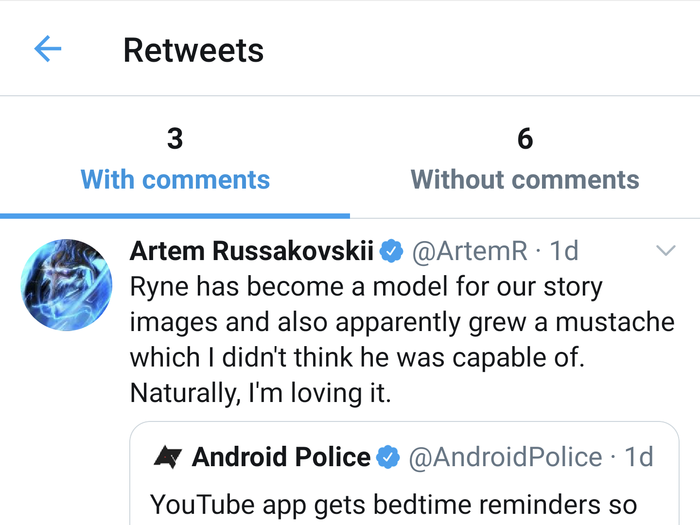 Twitter is rolling out separate 'Retweets with comments' tabbed UI on Android 1