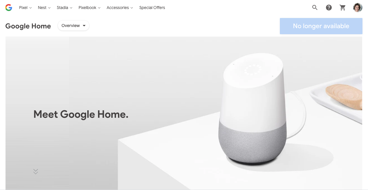 The original Google Home is no longer available on the Google Store