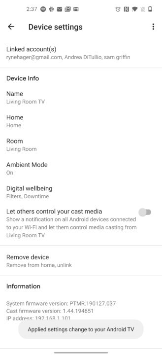 Android TV gets speaker group support and fixes broken cast notification setting 6