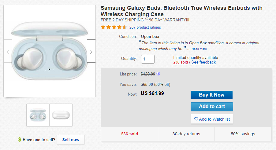 Open Box First Gen Galaxy Buds Are 65 50 Off On Ebay