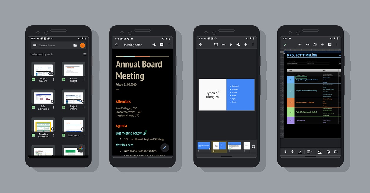 Google Docs, Sheets, and Slides All Get Dark Theme on Android