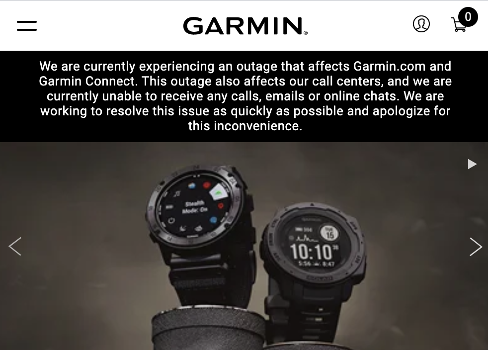 Garmin Services Shut Down due to Reported Ransomware Attack