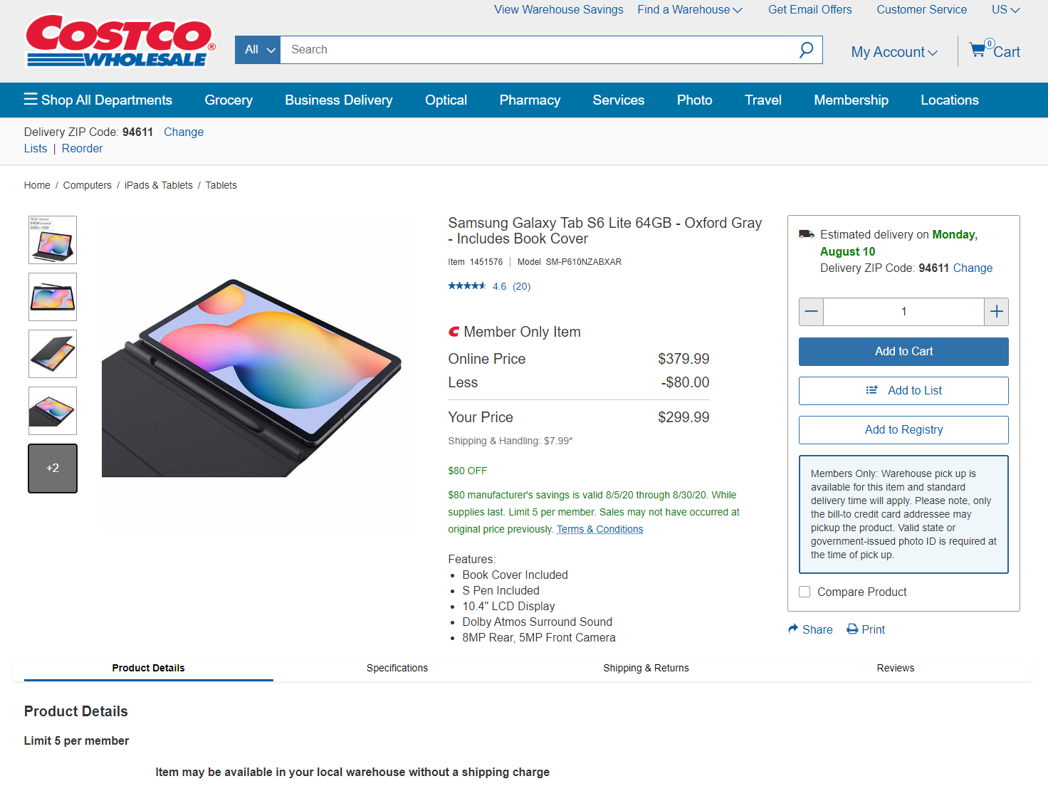 Samsung Galaxy Tab S6 Lite with Book Cover is $300 ($80 off) at Costco