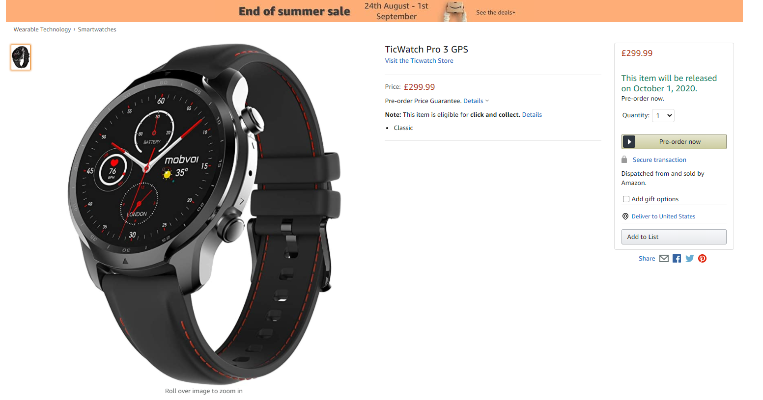 Amazon listing outs upcoming TicWatch Pro 3
