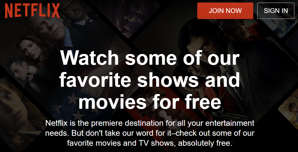 Netflix offering free content, no credit card or account required