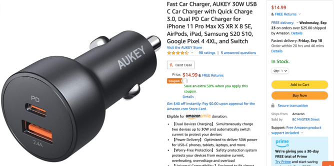 Get ready to hit the road with Aukey's 30W USB-C + USB-A car charger — just $7.50 on Amazon (half off)