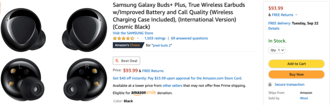 Woot is selling Samsung's Galaxy Buds+ for just $94 on Amazon