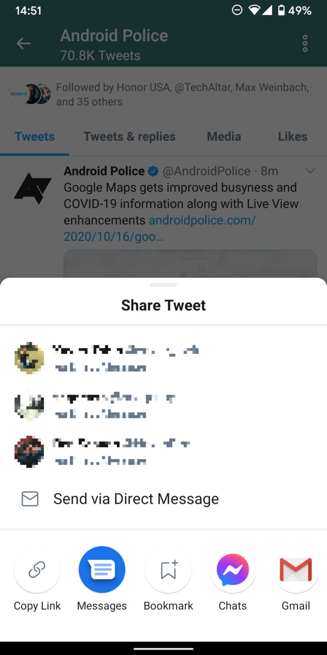Twitter updates its Android app with custom share sheet