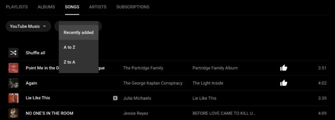 YouTube Music agrega nuevas opciones de clasificación de canciones