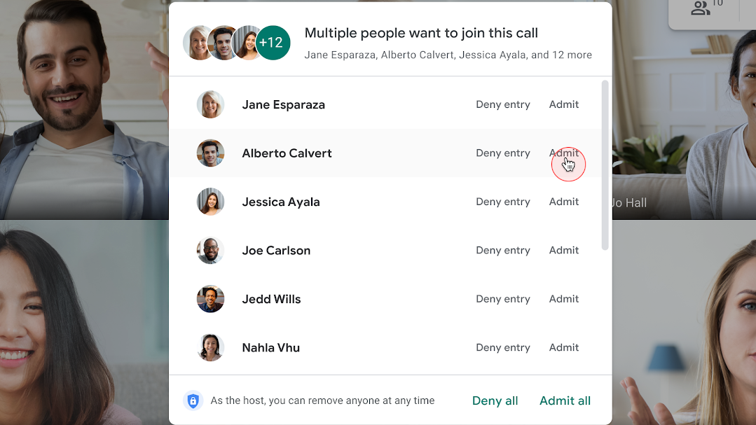 Google Meet now lets you bulk admit people to calls, getting things going fast