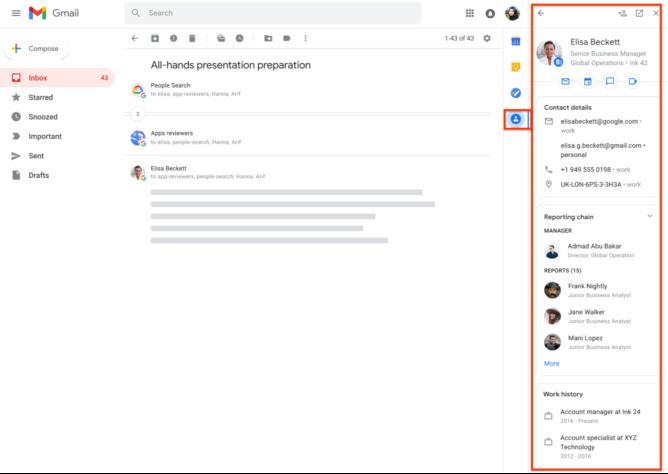 Google anuncia nuevo panel lateral de 'Contactos' en Gmail