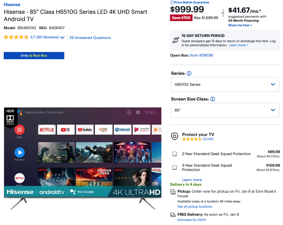 85 Hisense 4k Led Hdr Android Tv Is Just 1 000 700 Off At Best Buy Today