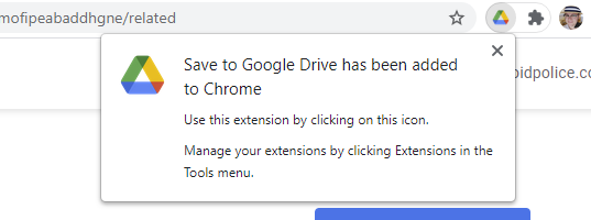 The notification stating that the extension has been added to Chrome.