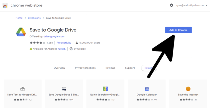 Installing the Save to Google Drive extension on the Chrome Web Store.