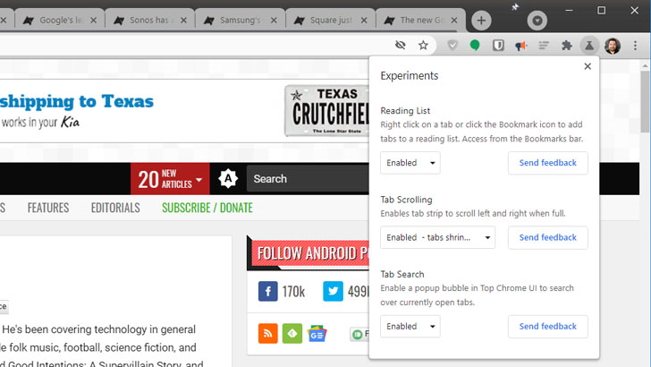 Upcomming Chrome test releases will have easy access to an Experiments menu