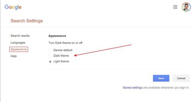 google search desktop dark theme selection