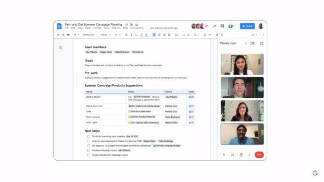 Google Meet now works directly inside Google Docs