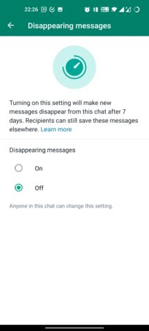 WhatsApp disappearing messages 3
